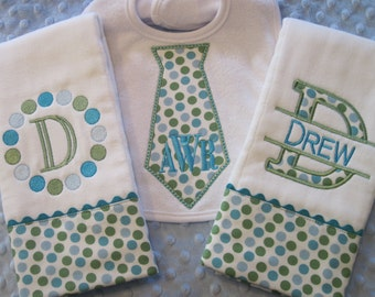Personalized Baby Boy Burp Cloths and Bib Set
