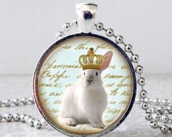 White Bunny Glass Pendant Necklace, White Rabbit Pendant, Rabbit Jewelry, Rabbit with Crown Necklace, King Bunny, Christmas Present