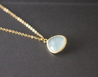 Crystal teardrop necklace - blue