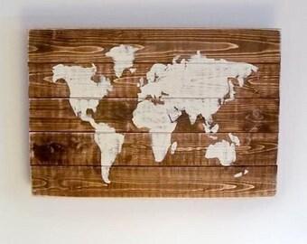 Wooden World Map Wall Art  60 x 40cm -  Handmade Pallet Wall Art