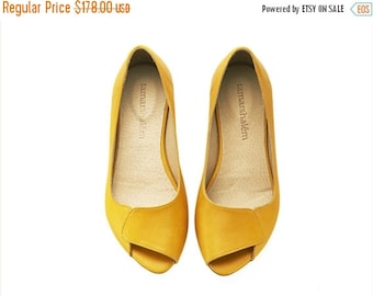 SUMMER FINAL SALE Aya peep toe yellow leather handmade flats