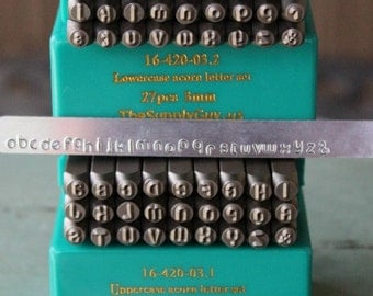 3mm Acorn Font Alphabet Letter Combination Stamp Set- 3MM Combo Jewelry Metal Stamps- SGCH-ACUACL3MM