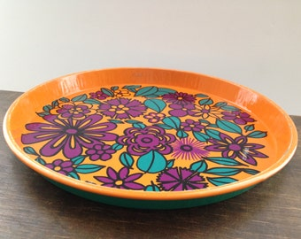 Vintage Mid Century tray Floral bright tray Orange purple turquoise floral tin tray 60s Mod tray