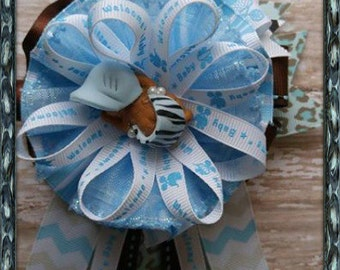 Safari Animals Mommy To Be Corsage Blue and Brown Baby Shower Corsage Safari Theme Corsage It's a Boy Baby Shower