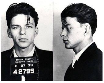 Frank Sinatra Mug Shot, High def, Old blue eyes, Black and white, old, vintage antique, photography, picture, print, fine art