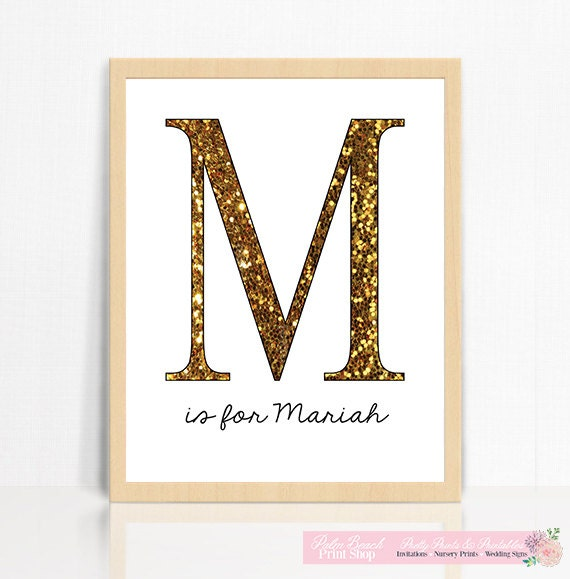 Personalized Gold Glitter Confetti Initial Nursery Wall