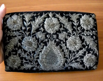 Vintage Zardozi Silver and Gold Embroidered Clutch