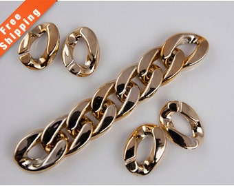 Free Shipping- 50PCS Rose Gold Acrylic Chunky Curb Chain Links, Plastic Link, 24x18mm, L08C.RG04.P50