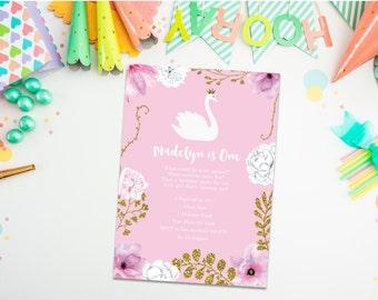 Swan Invitation. Swan Birthday Invitation. PRINTABLE. Girl Invitation. 1st Birthday Invitation. Swan theme party. Princess party. Flower