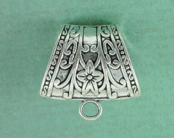 "Large Flower Scarf Slider Bail - 1 1/2"" Wide - Antique Silver FInish"
