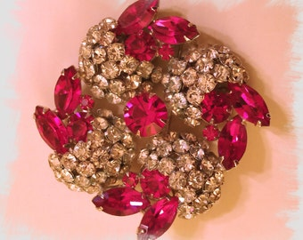 FABULOUS Fuchsia and Clear KRAMER Brooch