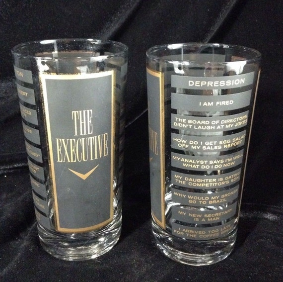Vintage Highball Barware Glasses The Executive, Drinkware Set of 2 Cocktail Glasses