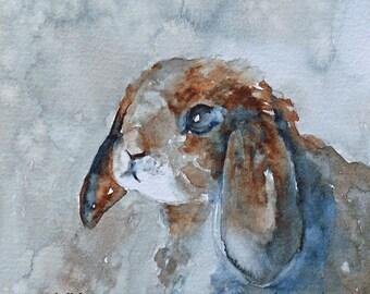 kids rabbit watercolor painting watercolor bunny art print bunny print painting of PRINT bunny painting bunny baby room decor wall 5x5 SET