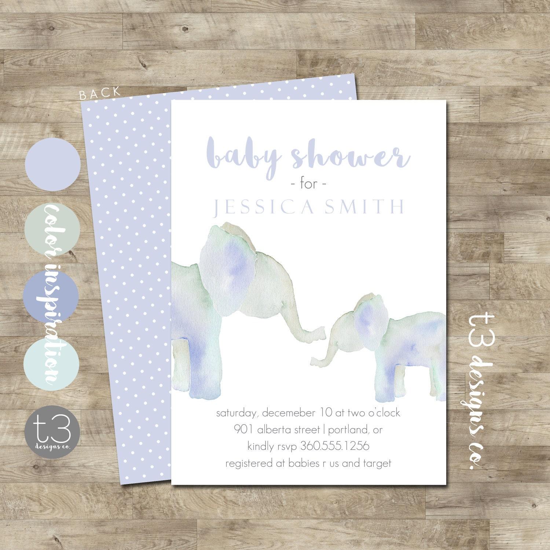Elephant Baby Shower Invite Boy Elephant Baby Shower Invitation