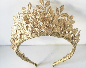 The Aura - Gold Leaf Crown - weddings or other special occasions.