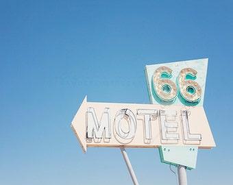 Route 66, Neon Sign, Motel 66, California Photography, Needles, Havasu, Mojave Desert, Travel Photography, Art, Print, Large Wall