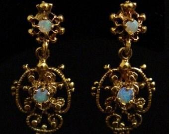 Antique 14k Victorian Etruscan Blue Opal Cabochon Chandelier Post Earrings