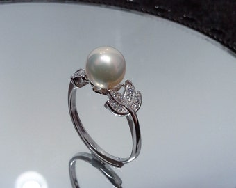 Blest Jewellery- Pearl Ring - AAA 7-8MM White Color Freshwater Pearl Ring, Cubic Zirconia With 925 Silver