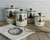 Georges Briard, Kitchen Canisters, Enamel Canisters, Mid Century Canisters, Enamel Tins, Coffee Canister, Flour Tin, Tea Tin, Sugar Canister