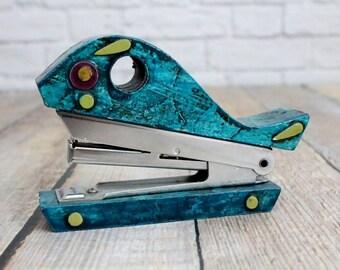 Vintage Fitz & Floyd Whale Stapler, Mini Whale Stapler, Paper Machet Stapler, Office Kitsch, Kitsch Stapler, Vintage Child's Stapler