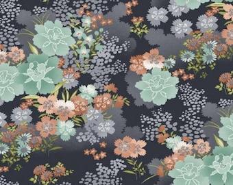 Asami Large Flower - Grey Fabric - 100% Cotton