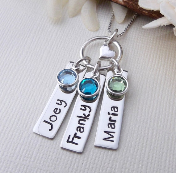 Children Name Tag Necklace- Mother's Day Gift- Mom Necklace- Mother Jewelry- Mommy Jewelry- Hand Stamped Mom Necklace- Mom Tag Necklace