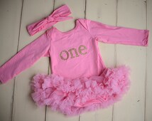 Pink first birthday outfit, Girls Birthday, 1st birthday outfit, toddler birthday, Gold number birthday outfit, Cake smash dress