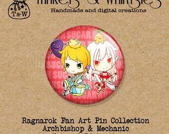 Ragnarok  Mechanic and Archbishop Chibi Fan Art PIN BACK Button