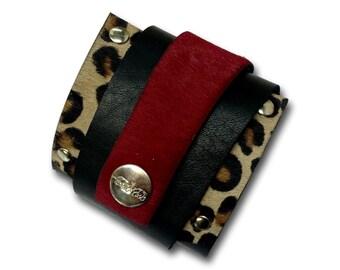 Handmade leather WRAP AROUND bracelet (black/caret red/tiger)