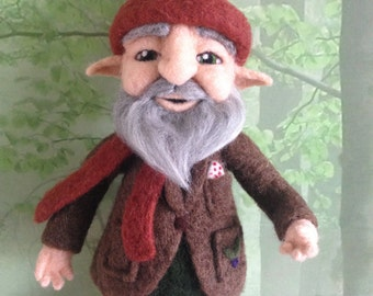 gnome, needlefelted woodland gnome. OOAK fantasy folk, fibreart 12 inches