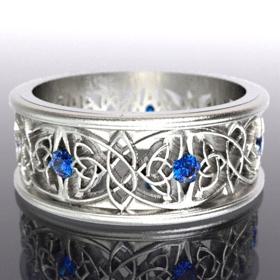 Celtic Wedding Ring With Cut-Through Celtic Butterfly Knot Design With Blue Sapphire Stones in Sterling Silver, Made in Your Size CR-1040