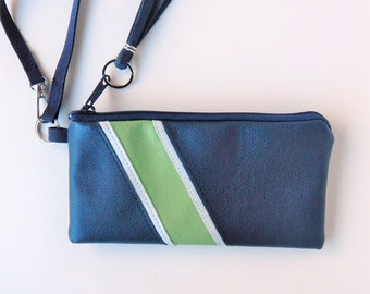 Navy and green wristlet.  Seahawk colors leather wristlet or clutch.