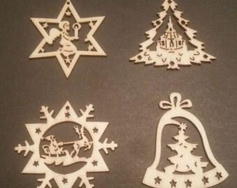 Wood Christmas Ornaments, Christmas Tree Ornament, Mini Ornaments, Santa Claus Ornament, Christmas Angel Ornament, Christmas Ornament Set