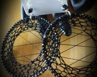 Large Black Crochet Hoop Earrings