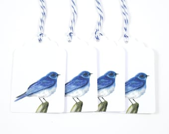 Set of 4 Watercolor Mountain Bluebird Gift Tags - Watercolor Bird Painting- Watercolor Stationary - 4 Bluebird Gift Tags