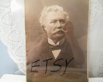 Portrait Distinguished Man Early 1900s Sepia tones  Large