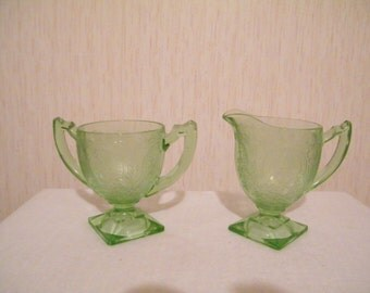 Indiana Glass Horseshoe 612 Footed Creamer and Open Sugar Bowl