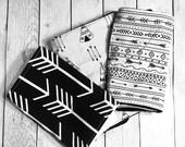 Three Gender Neutral Arrow Baby Burp Cloths, Monochrome Baby Burp Cloths by BizyBelle *Baby Stocking Stuffer, Baby Christmas Gift