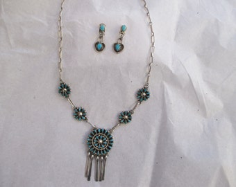 CHILDS SQUASHBLOSSOM NECKLACE Earring Set Sterling Turquoise