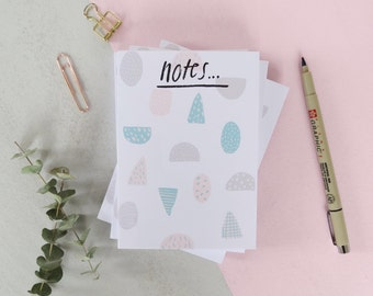 A6 Pastel Shapes Notepad. Blank Book. Note Book. Tear Off Note Pad. To Do List.