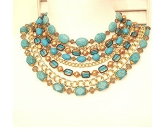Layered Turquoise Bib Collar Hope Statement Necklace - Short Beaded Chain Layered Statement Necklace - Turquoise Necklace