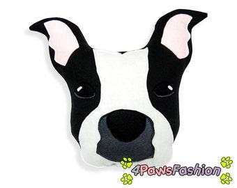 ADELE black white American Staffordshire Terrier stuffed plush toy Dog pattern OOAK  / 4PawsFashion