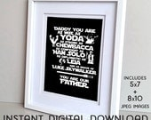 Star Wars Father's Day (2+ kids) DIY Printable Sign DIGITAL DOWNLOAD 8x10 / 5x7