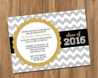 Customized Chevron Graduation Invitation / Announcement - Choose Your Own Colors (Digital - DIY)