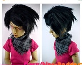 Sale 25% Off BJD MSD 1/4 Doll Accessories - Grey and Black Plaid Handkerchief Scarf
