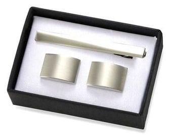 Free engraving- Brushed Silver Rectangular Brass Cuff Links with Matching Tie BAr