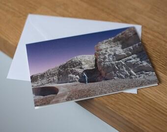 Seaford Sleepwalk- a moonlit, long exposure landscape. Fine art photography greetings card. Blank inside.