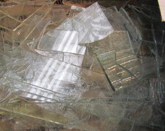 CLEAR Textured Mixed Scrap Glass from stained Glass Shop for Mosaic work or art project in glass 2 lbs