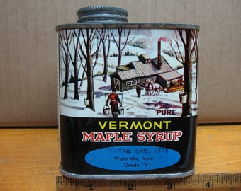 vintage tin vermont maple syrup can bressette waterville vt
