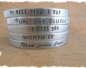 Custom message cuff choose a design or create your own Long distance relationship love ldrship going away gift for her bracelet hand stamped